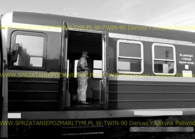 Sprzątanie dezynfekcja taboru kolejowego po rozkładzie zwłok wypadku